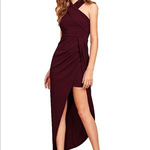 Halter formal sexy ruched dress- wine NWOT